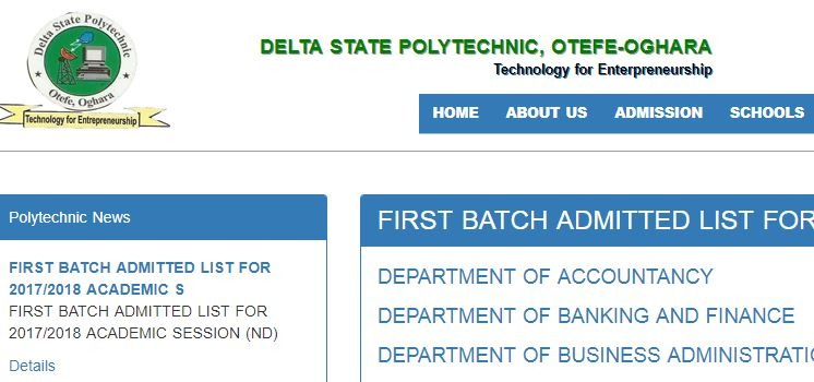 delta poly otefe admission list