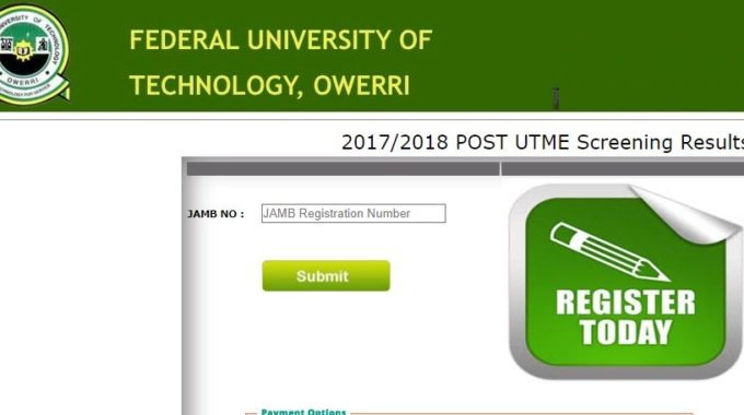 FUTO Post-UTME Result for 2017/2018 Session is Out