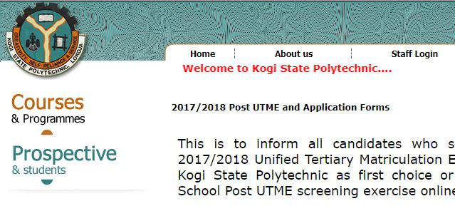 Kogi State Poly Post-UTME 2017 Form, Cut off Mark & Exam Date