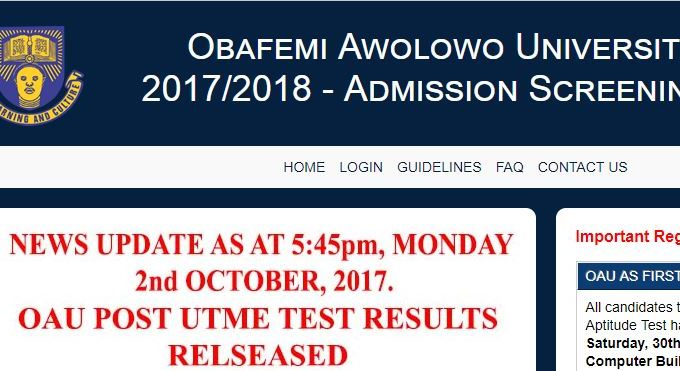 OAU Post Utme Result 2017/2018 is Officially Out – Check Here
