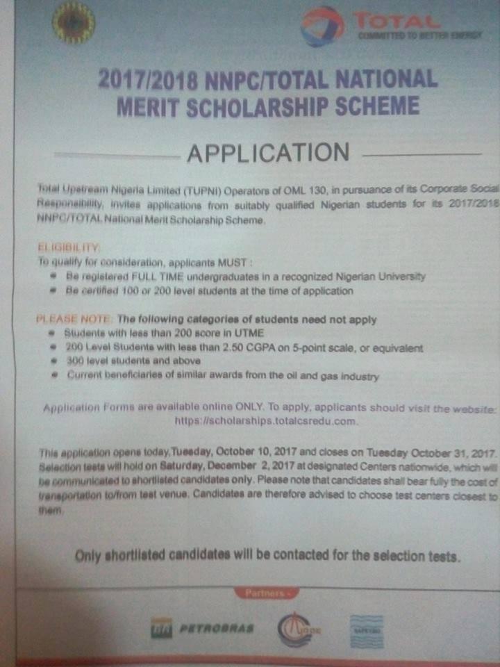 total scholarship 2017