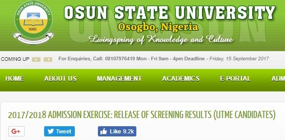 UNIOSUN Direct Entry Admission List 2017/2018 is Out