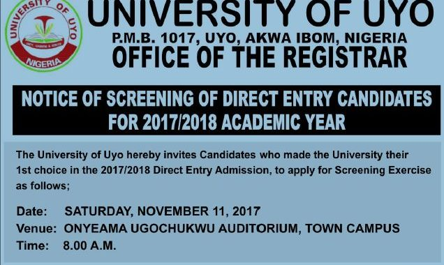 UNIUYO Direct Entry 2019 Screening Form & Admission Requirements