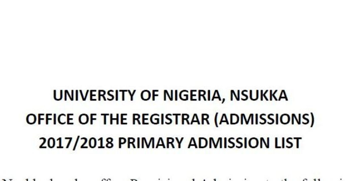 UNN Admission List 2017/2018 is Out [Merit List] – Check Here