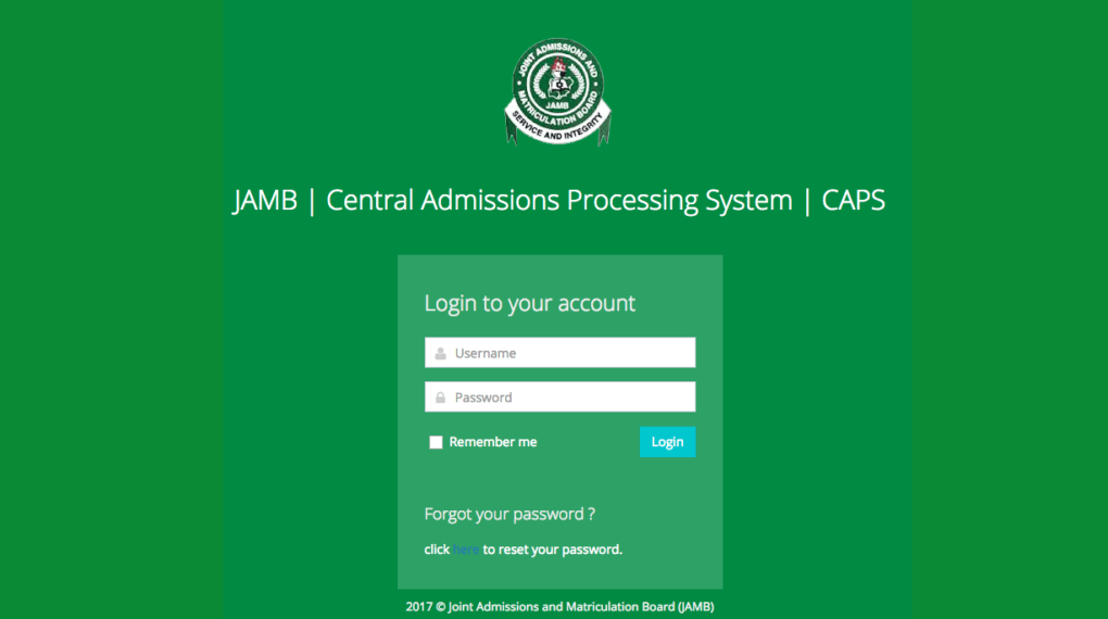 JAMB Central Admissions Processing System CAPS