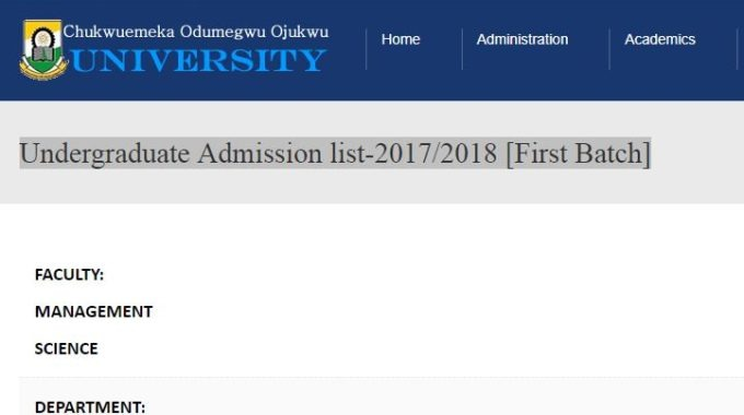 ANSU Admission List 2017/2018 is Out – Check First Batch Here