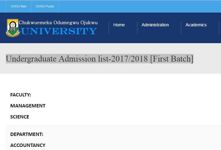 ansu admission list 2017 18