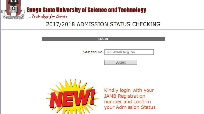 ESUT Admission List 2017/18 is Out – Check 1st Batch Here