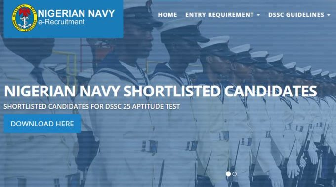 Nigerian Navy Publish List of DSSC Shortlisted Candidates for Aptitude Test