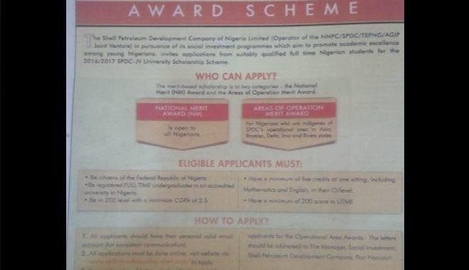 Shell Scholarship 2017 Application for Undergraduates Begins