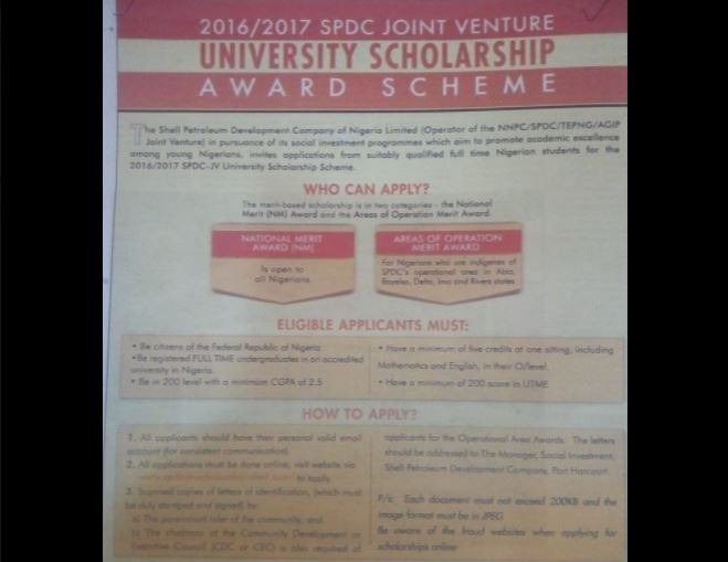 shell scholarship 2017 application