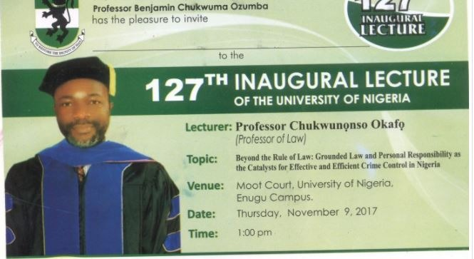Invitation To 127th Inaugural Lecture of UNN By Prof Chukwunonso Okafo