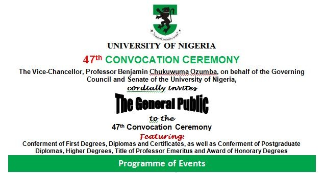 UNN 47th Convocation Ceremony Programme Of Events 2017