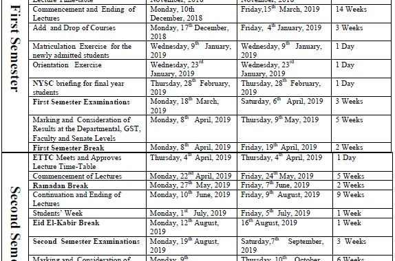 YSU Academic Calendar 2018/2019 Session Finally Out