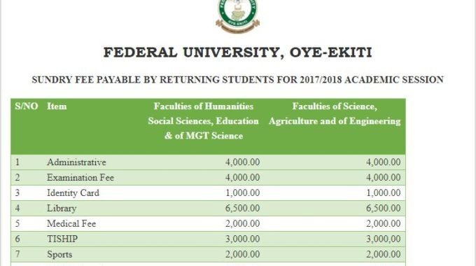 FUOYE School Fees 2017/2018 Payment Schedule is Out