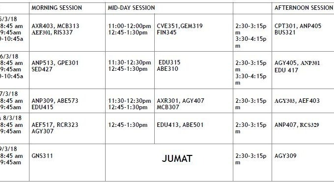 UNILORIN Harmattan Semester Exam Timetable 2017/2018