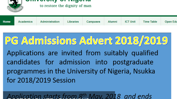 UNN Postgraduate Form 2019/2020 Admission is now Available