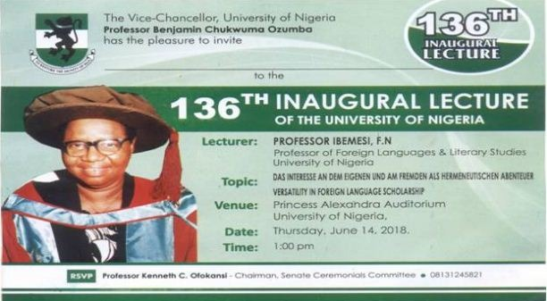 Professor FN Ibemesi To Deliver UNN 136th Inaugural Lecture