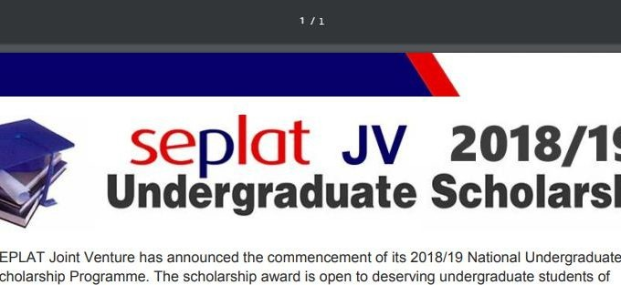Seplat Scholarship 2018/2019 Form for Undergraduates is Out