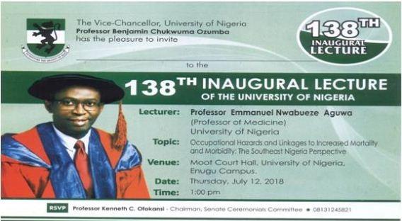 Prof Emmanuel Aguwa 138th UNN Inaugural Lecture Invitation