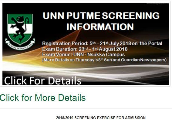 unn post utme 2018 screening