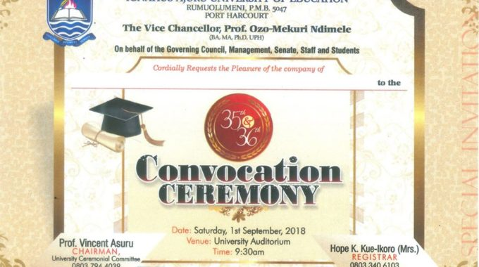 Ignatius Ajuru University of Education IAUE Convocation Date 2018