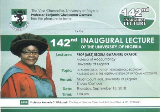 Prof. Regina Okafor To Deliver UNN 142nd Inaugural Lecture