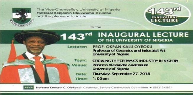 UNN 143rd Inaugural Lecture By Professor Okpan Kalu Oyeoku
