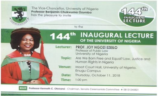 INVITATION: Prof Joy Ezeilo To Deliver UNN 144th Inaugural Lecture