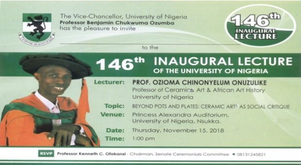 INVITATION: 146th UNN Inaugural Lecture by Prof Ozioma Onuzulike