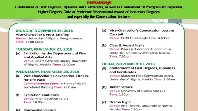 Events Schedule for UNN 48th Convocation Ceremony Released