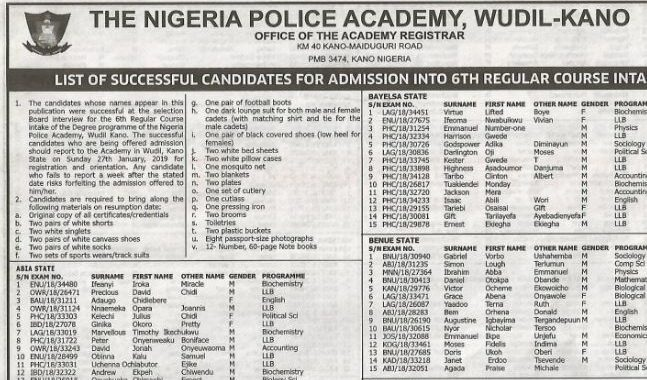 Nigeria Police Academy Admission List 2018/2019 is Out