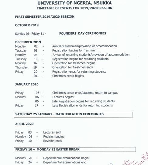 unn academic calendar 2020