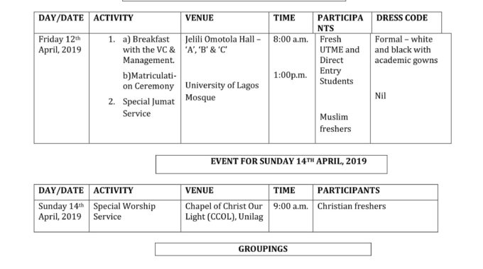 UNILAG Orientation Programme for 2018/2019 Freshers'