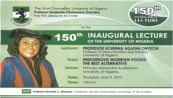 150th UNN Inaugural Lecture Invitation by Professor Uchenna Onyechi