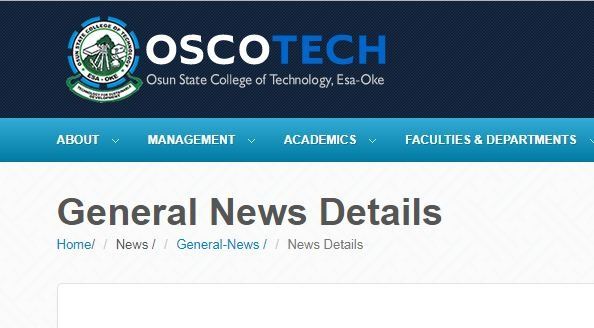 OSCOTECH Admission Form 2019/20 Session is Out [Full-Time]