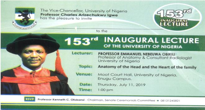 INVITATION: UNN 153rd Inaugural Lecture by Professor Emmanuel Obikili