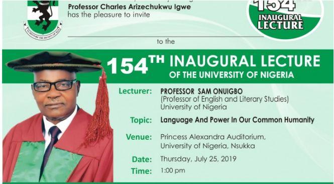 INVITATION: UNN 154th Inaugural Lecture by Professor Sam Onuigbo