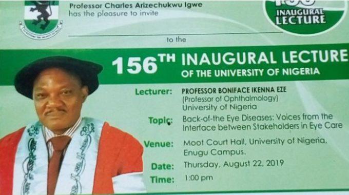 Invitation To UNN 156th Inaugural Lecture by Professor Boniface Eze