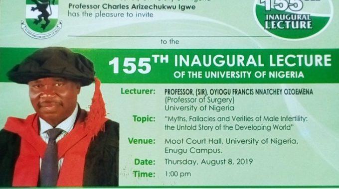 UNN 155th Inaugural Lecture Invitation By Professor Oyiogu Francis Ozoemena