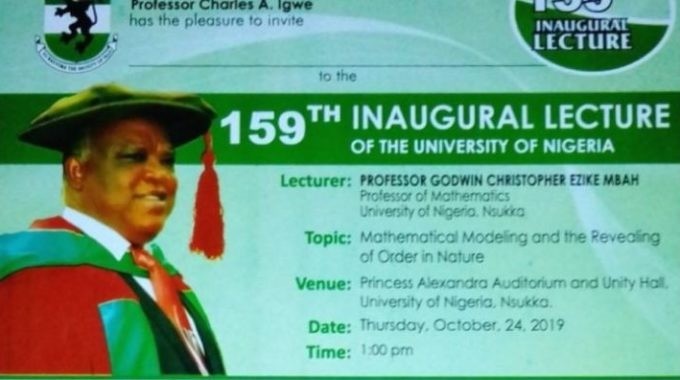 UNN Invitation To 159th Inaugural Lecture by Professor Godwin Mbah