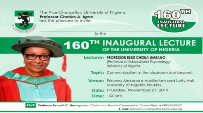 160th UNN  Inaugural Lecture by Professor Elsie Umeano Announced