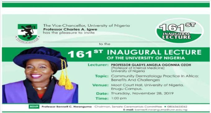UNN 161st Inaugural Lecture Invitation by Professor Gladys Ogonnia Ozoh
