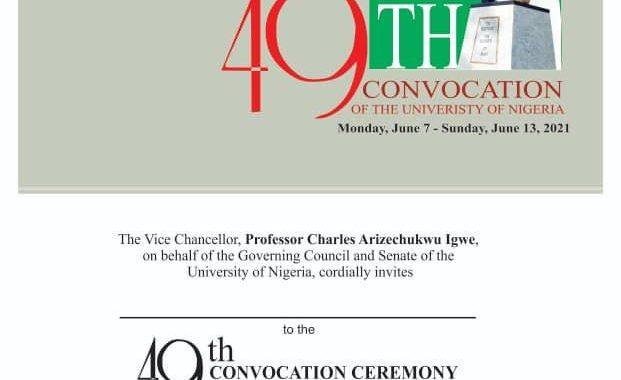 INVITATION to UNN 49th Convocation Ceremonies 2021